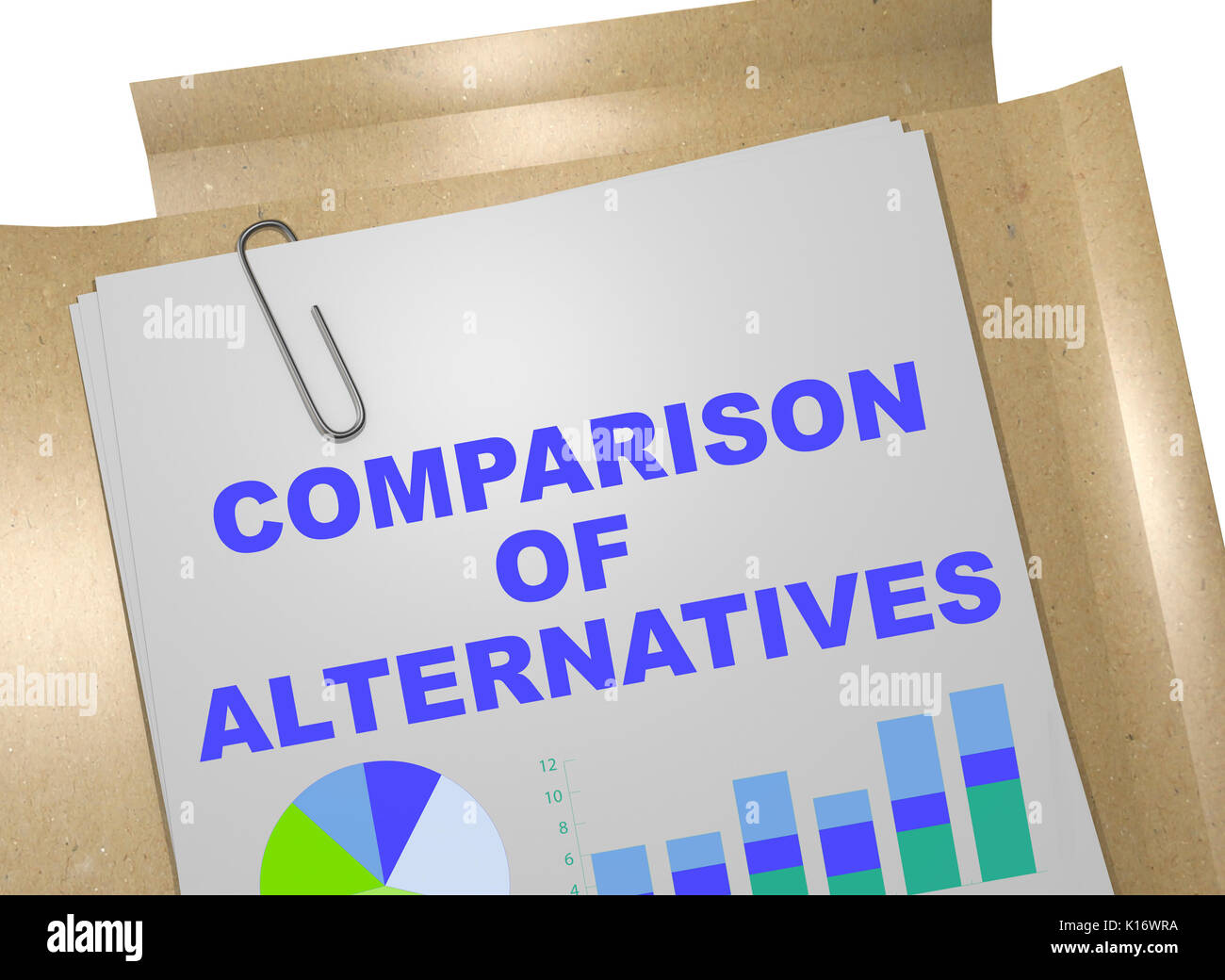 3D illustration of 'COMPARISON OF ALTERNATIVES' title on business document - Stock Image