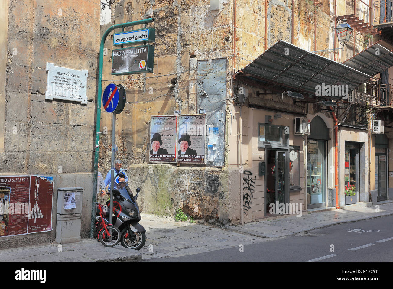 Sicily, city of Palermo, house facade in the old town Stock Photo ...