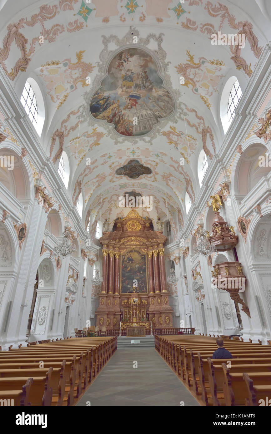 The Lucerne Jesuit  Catholic church in Lucerne, Switzerland - 24 July 2017 - Stock Image