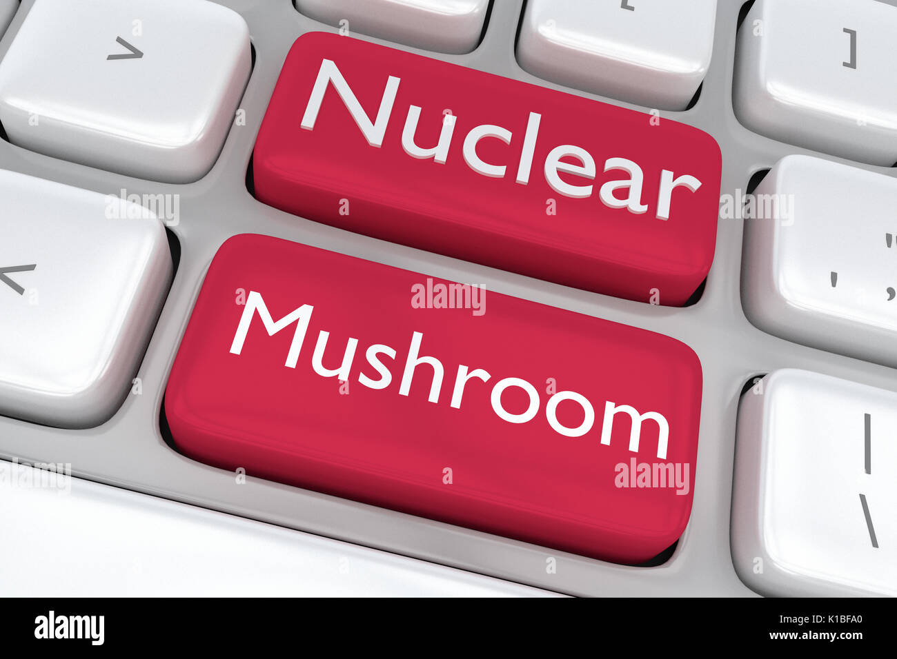 Render illustration of computer keyboard with the print Nuclear Mushroom on two adjacent red buttons - Stock Image