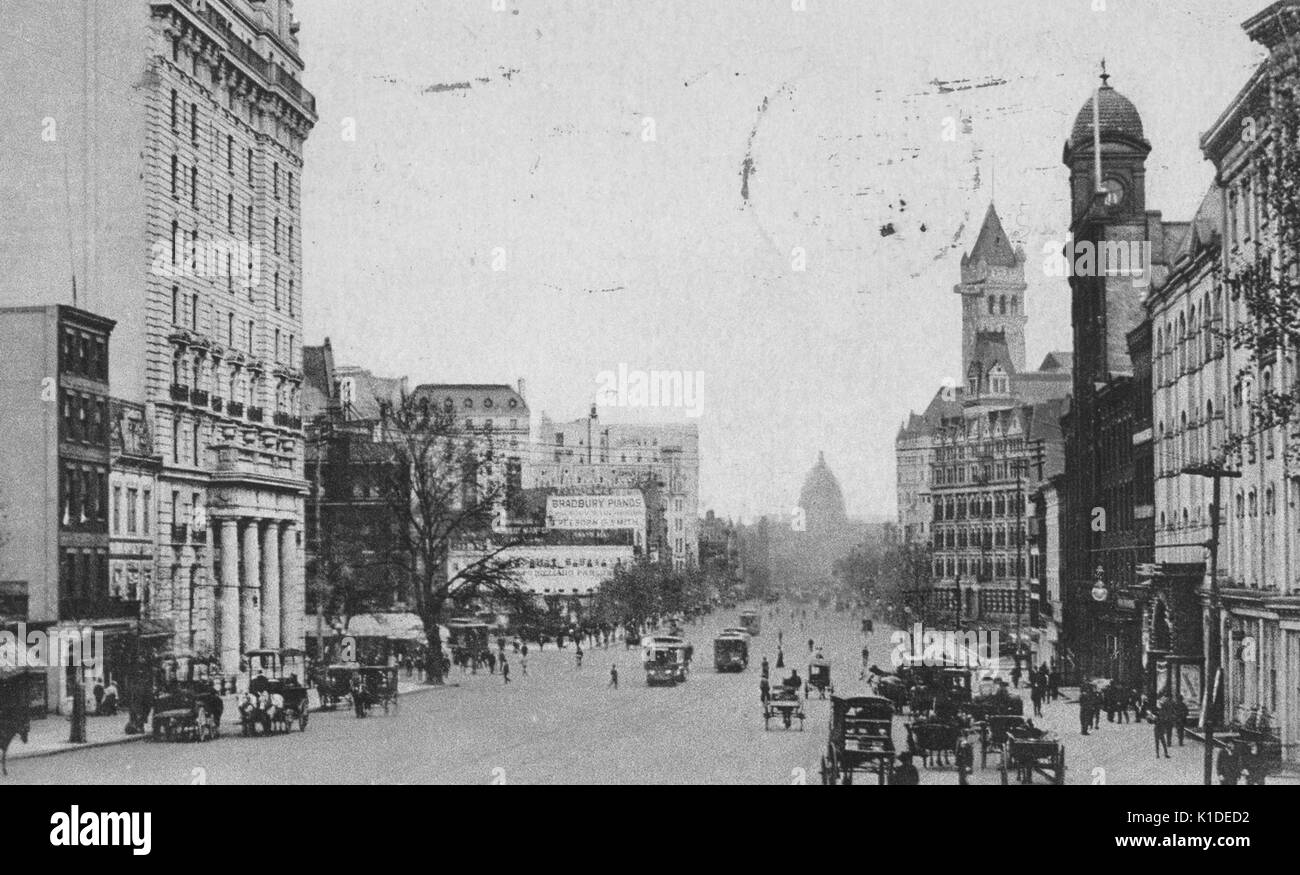 A partially colorized photograph of Pennsylvania Avenue, facing the Capitol Building, the street is populated by Stock Photo
