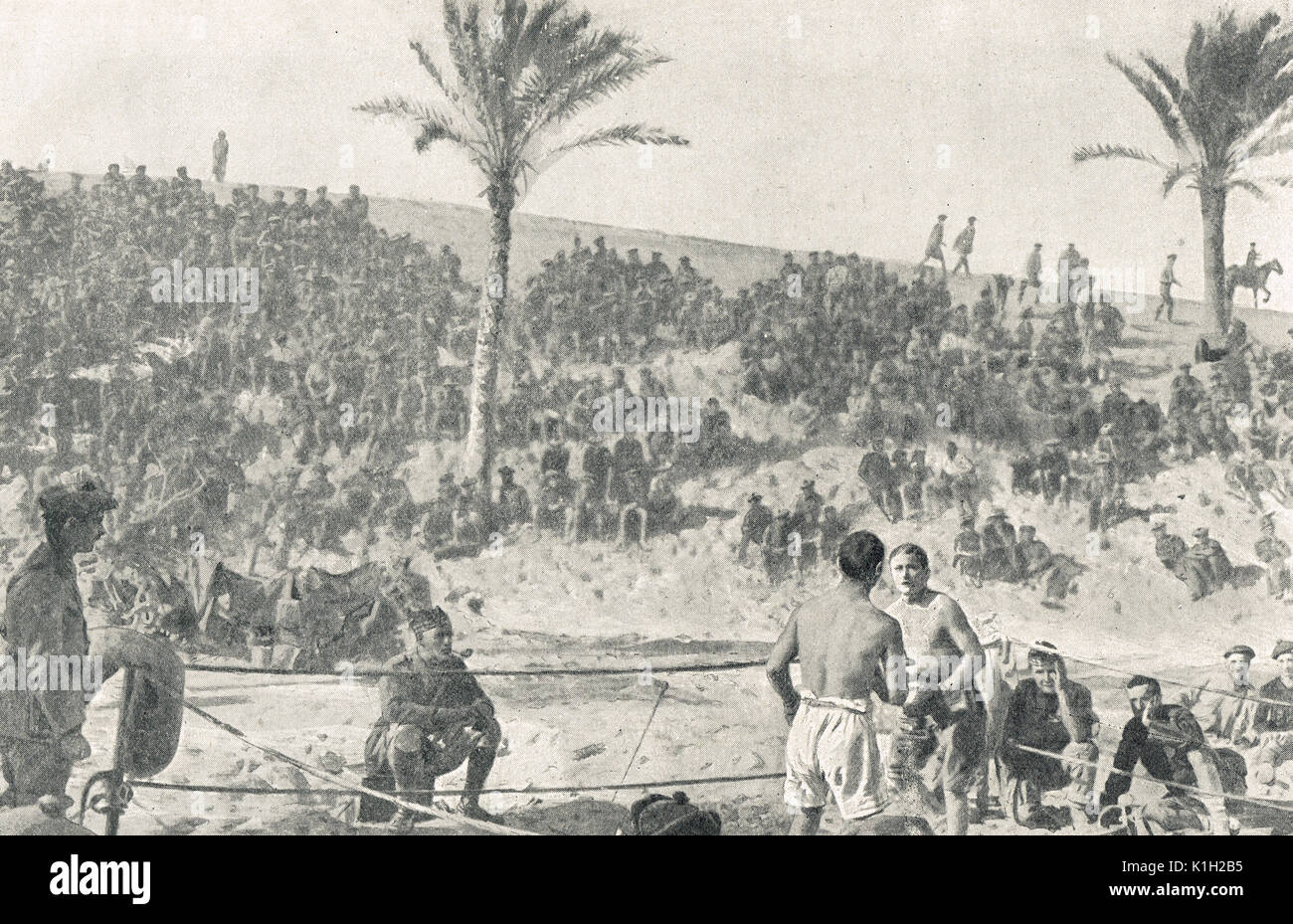 Boxing match, British camp in Egypt, WW1 - Stock Image