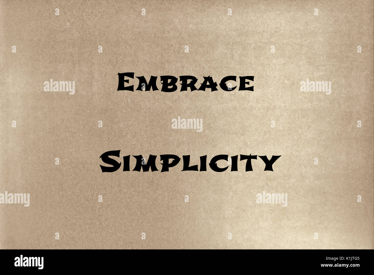A phrase by Lao Tzu: Embrace simplicity.   Graphic Design. - Stock Image