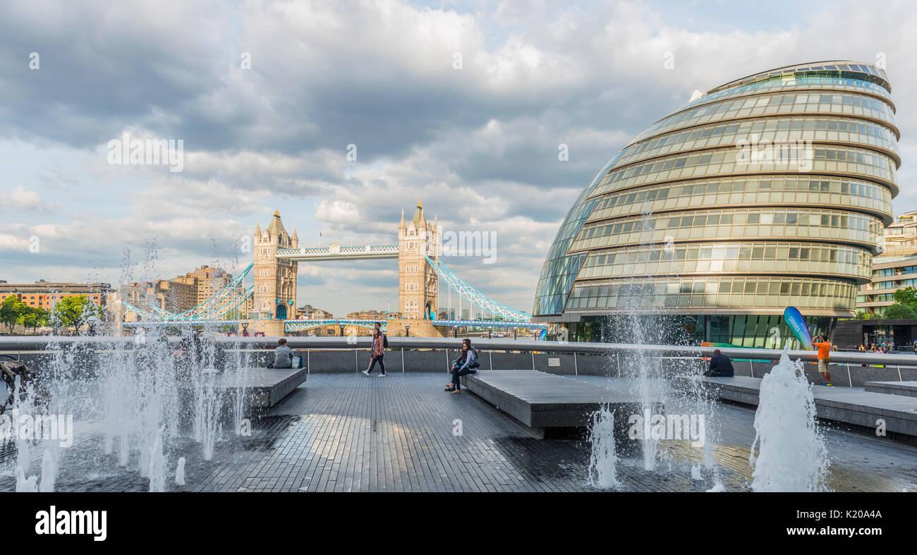 London City Hall, City Hall, behind Tower Bridge, More London Riverside, Southwark, London, England, United Kingdom - Stock Image