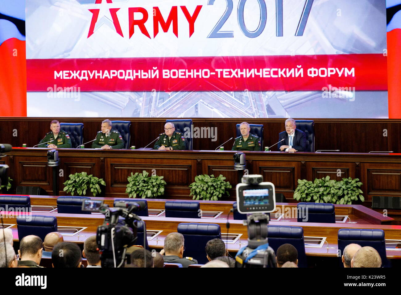 Moscow, Russia. 30th Aug, 2017. Russia's Defence Ministry Spokesman Igor Konashenkov, Russia's Deputy Defence - Stock Image