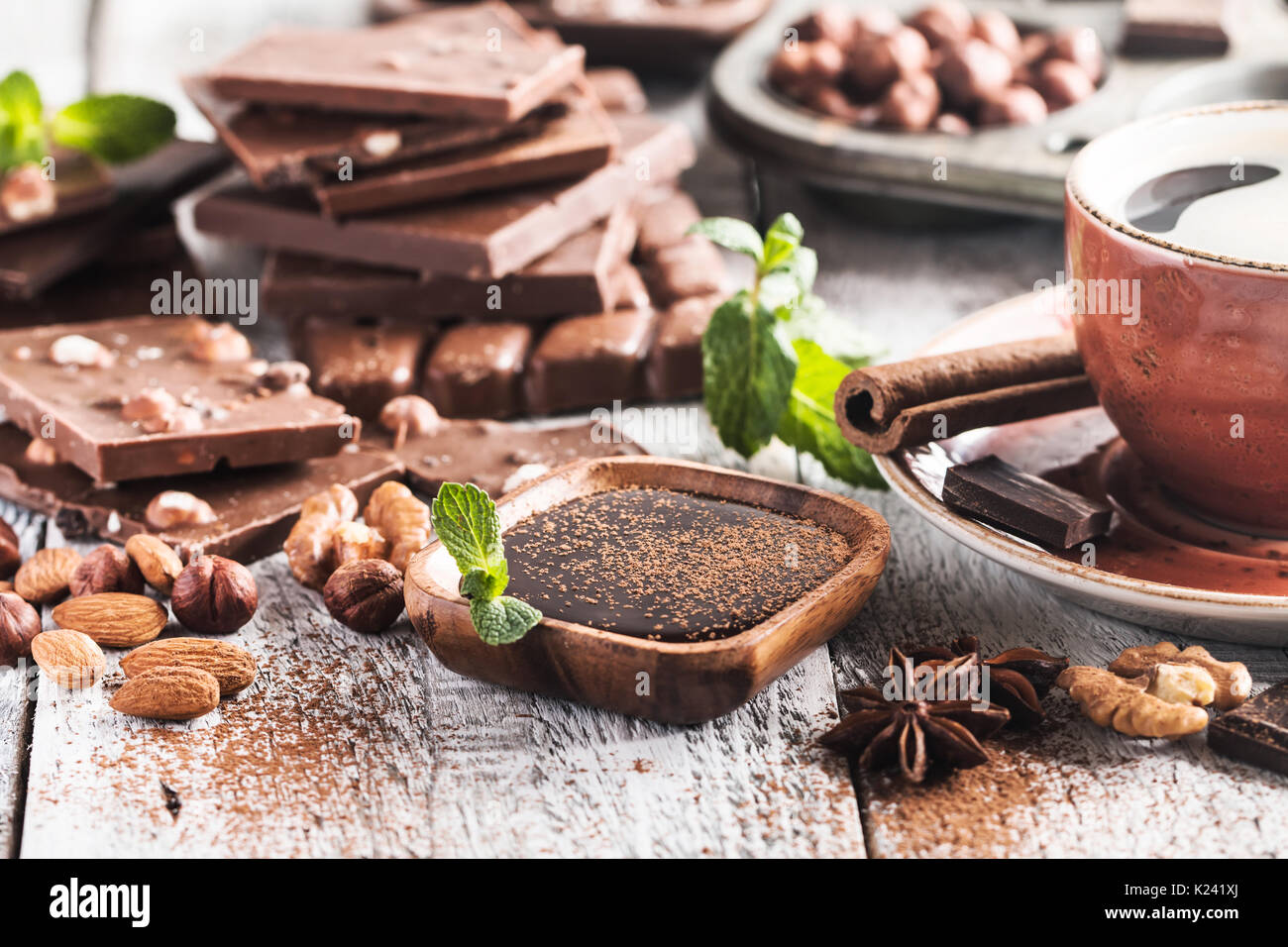 Assortment of chocolate types - Stock Image