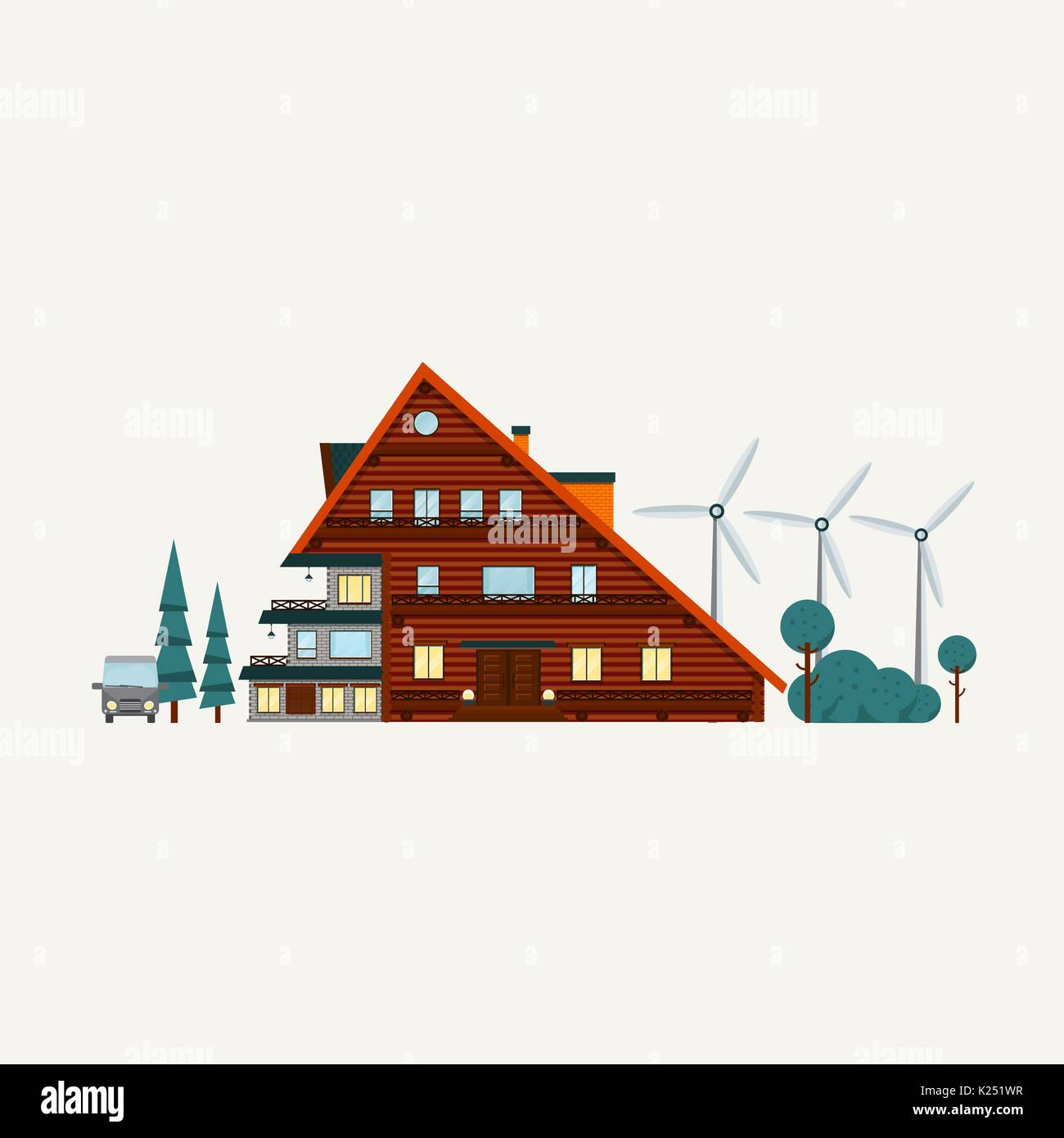 Wooden house and wind generators  . Vector - Stock Image