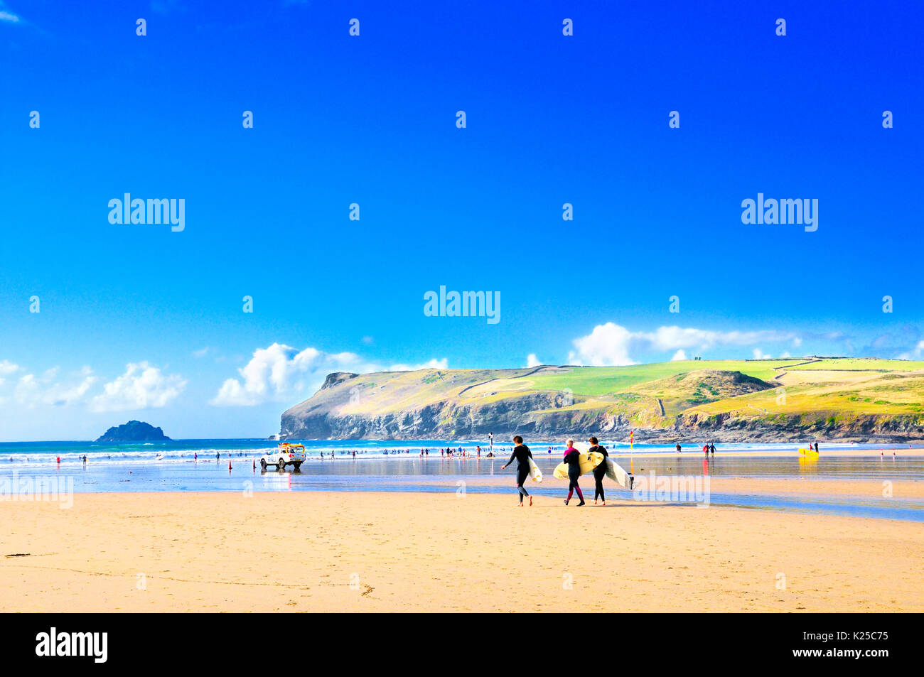 Polzeath Beach looking towards Pentire Point and Newlands Island, Cornwall, UK Stock Photo