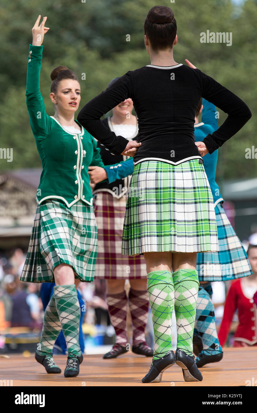 Ballater, Scotland - August 10th, 2017: Highland Dancers performing in competition during the 2017 Highland Games Stock Photo