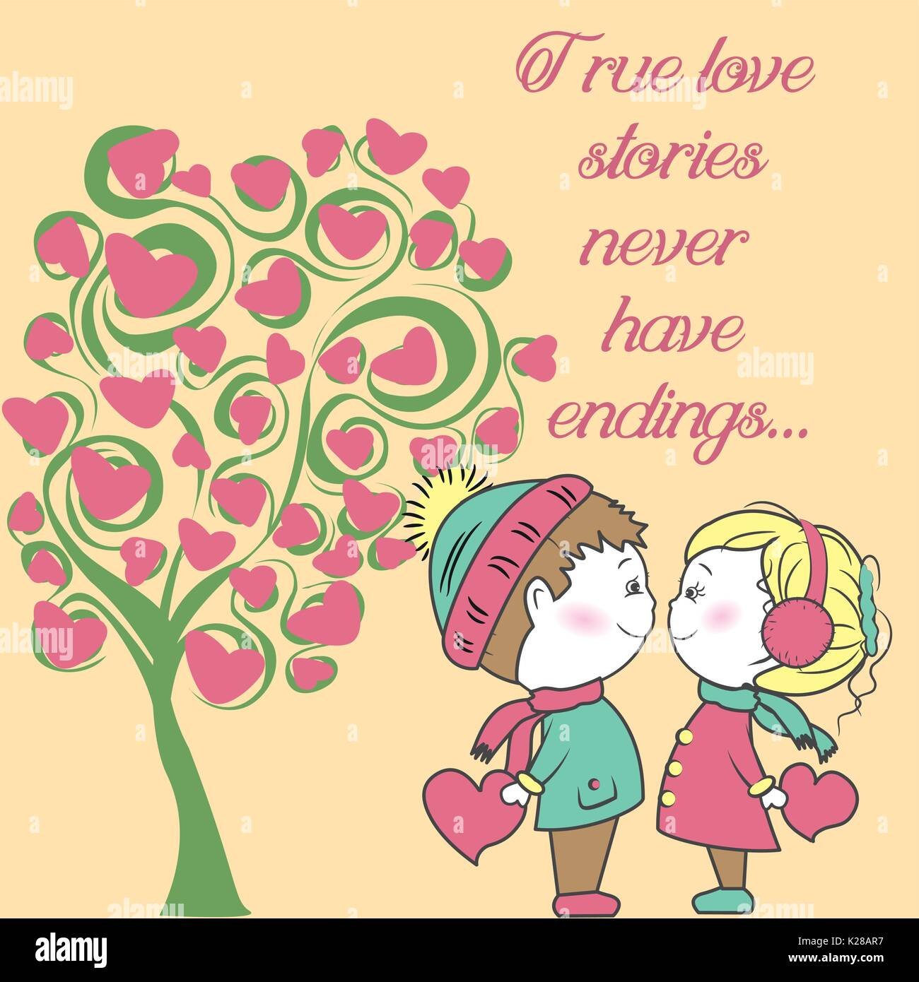Couple In Love With A Tree Of Love Background Valentine S Day Hand