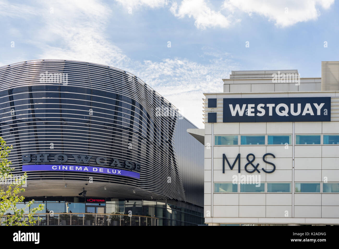 Contrasting architecture between the old and the new extension to WestQuay shopping, dining and leisure complex - Stock Image