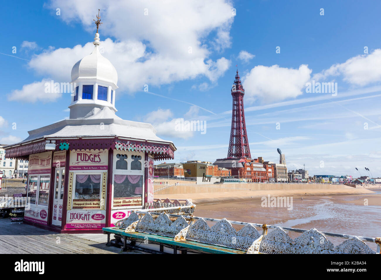 Blackpool, Fylde Coast, Lancashire, England.  The Blackpool Tower, opened on14 May 1894 and inspired by the Eiffel Stock Photo