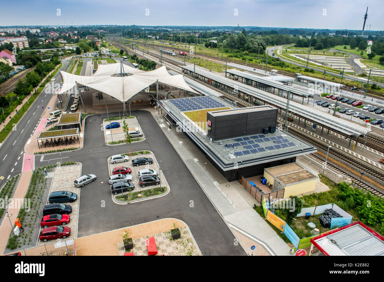 Environmentally friendly railway station, Wittenberg, Saxony-Anhalt, Germany - Stock Image