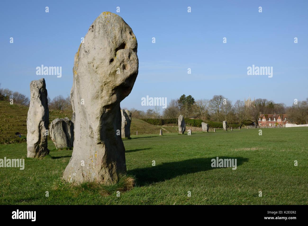 Neolithic megaliths, Avebury Stone Circle, Wiltshire, UK, February 2014. - Stock Image