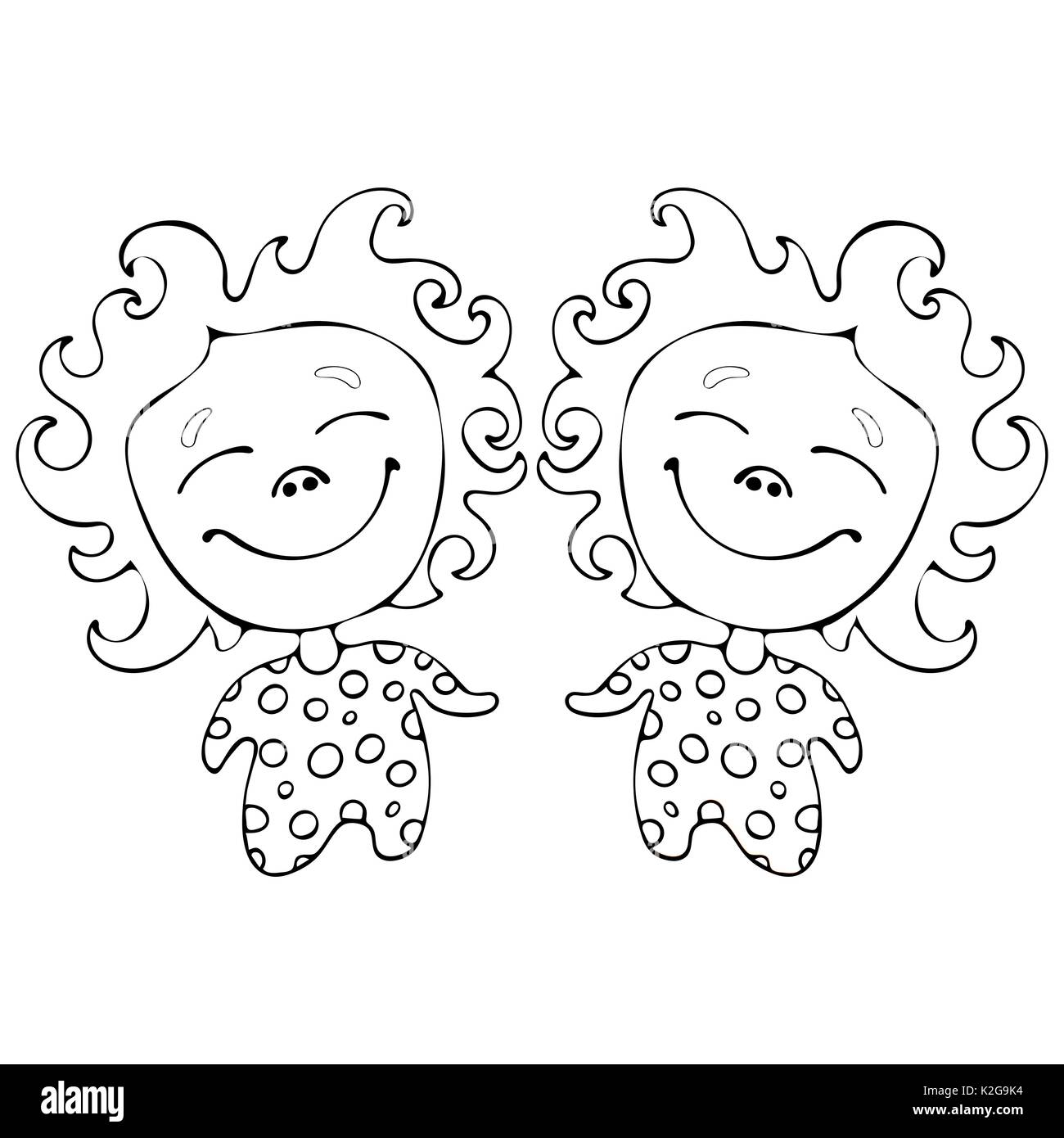 cartoon funny babes twins for coloring book isolated on white stock