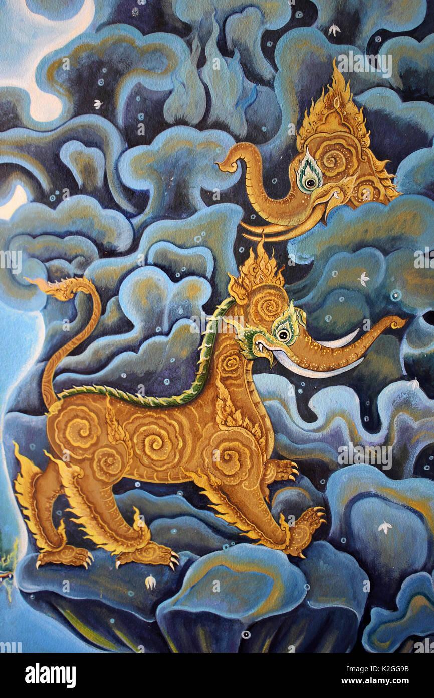Thailand Mythical Creature 'Kochasri' - Body Of A Lion Head Of An Elephant - Stock Image