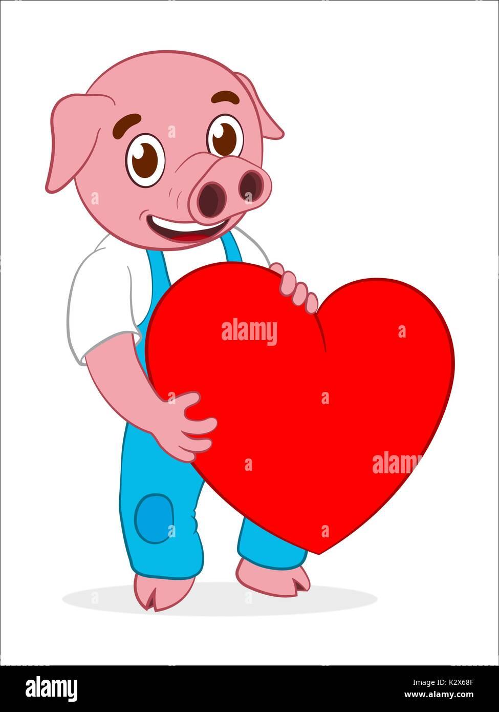Happy cute cartoon pig holding red heart - illustration Stock Vector ... for Pig Heart Cartoon  545xkb