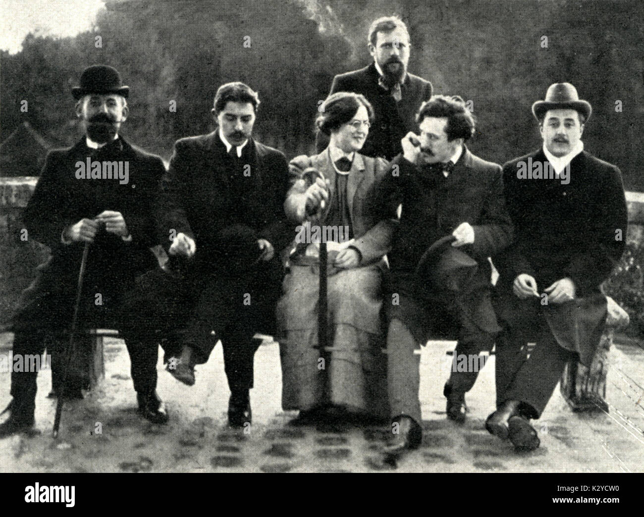 Nadia Boulanger with competitors for Grand Prix de Rome, 1907  (From July Musica, 1907)  L-R: Leboucher, Masselier, Stock Photo