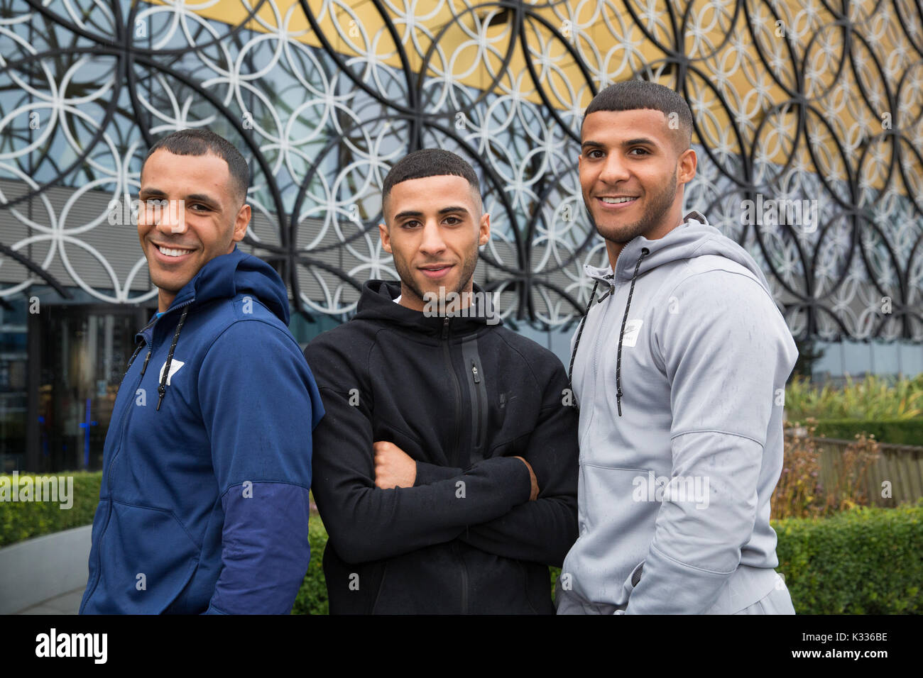 Birmingham boxing brothers, Kal, Gamal, Galal Yafai pictured outside Birmingham New Library - Stock Image