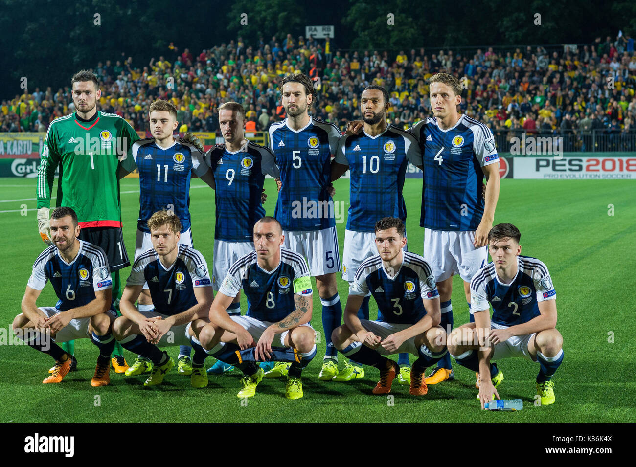 Vilnius, Lithuania. 1st Sep, 2017. Players of Scotland pose for a group photo before the FIFA World Cup European - Stock Image