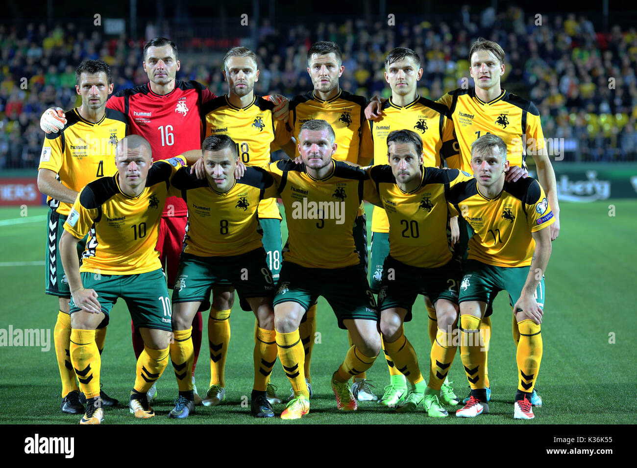 Vilnius, Lithuania. 1st Sep, 2017. Players of Lithuania pose for a group photo before the FIFA World Cup European - Stock Image