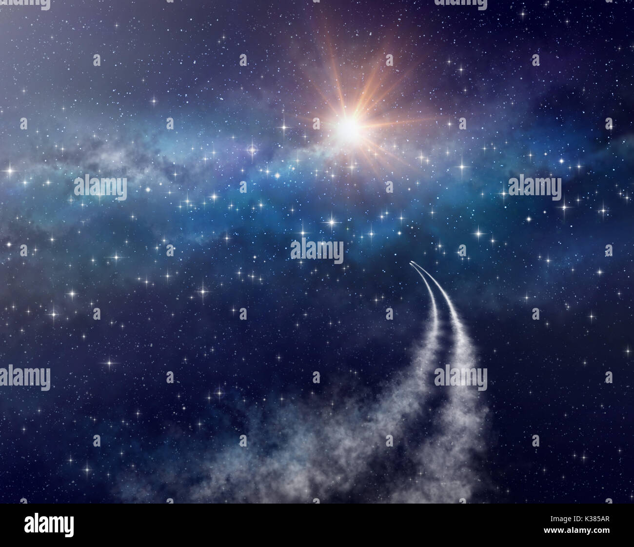 Spaceships exploring deep space, towards a star cluster. - Stock Image