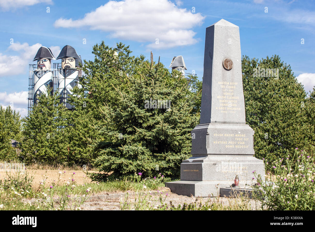Austerlitz battlefield near the town of Holubice reminds French troops with cannon, Moravia, Czech Republic - Stock Image