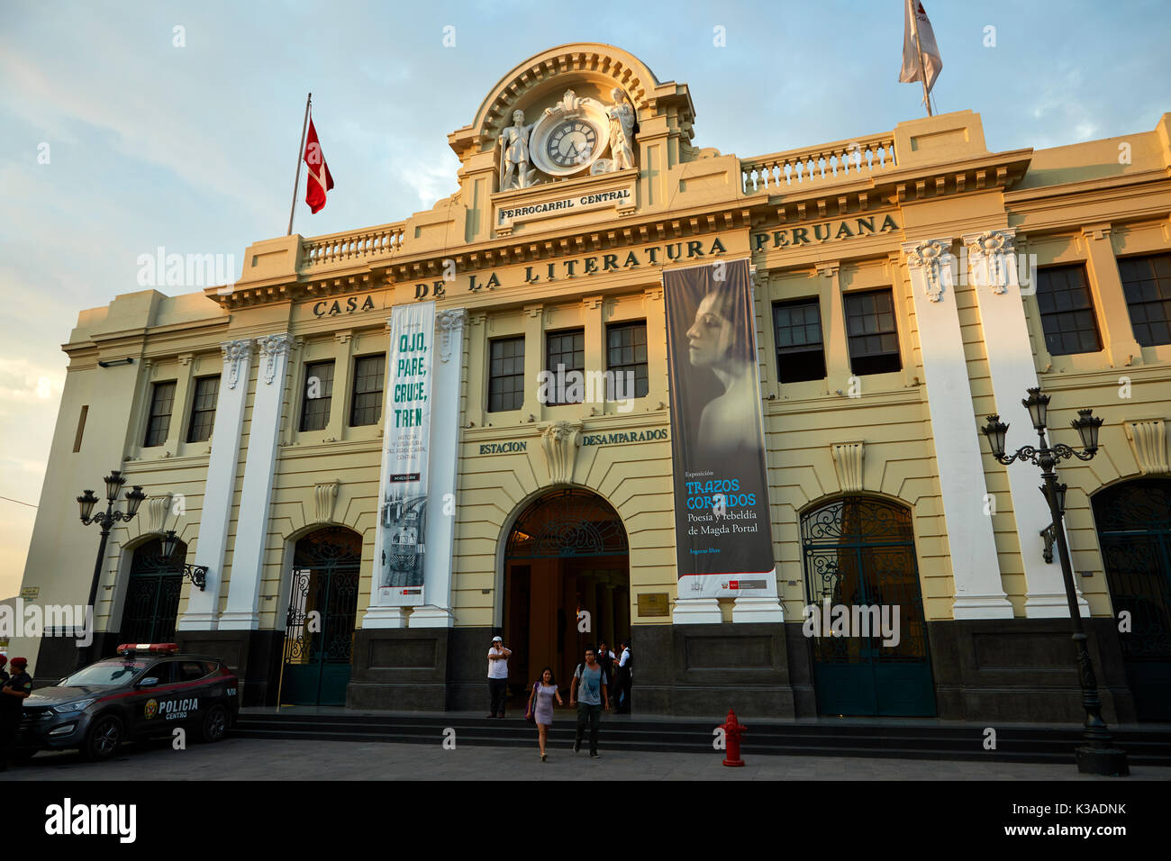 House of Peruvian Literature (formerly Railway Station), Historic centre of Lima (World Heritage Site), Peru, South - Stock Image