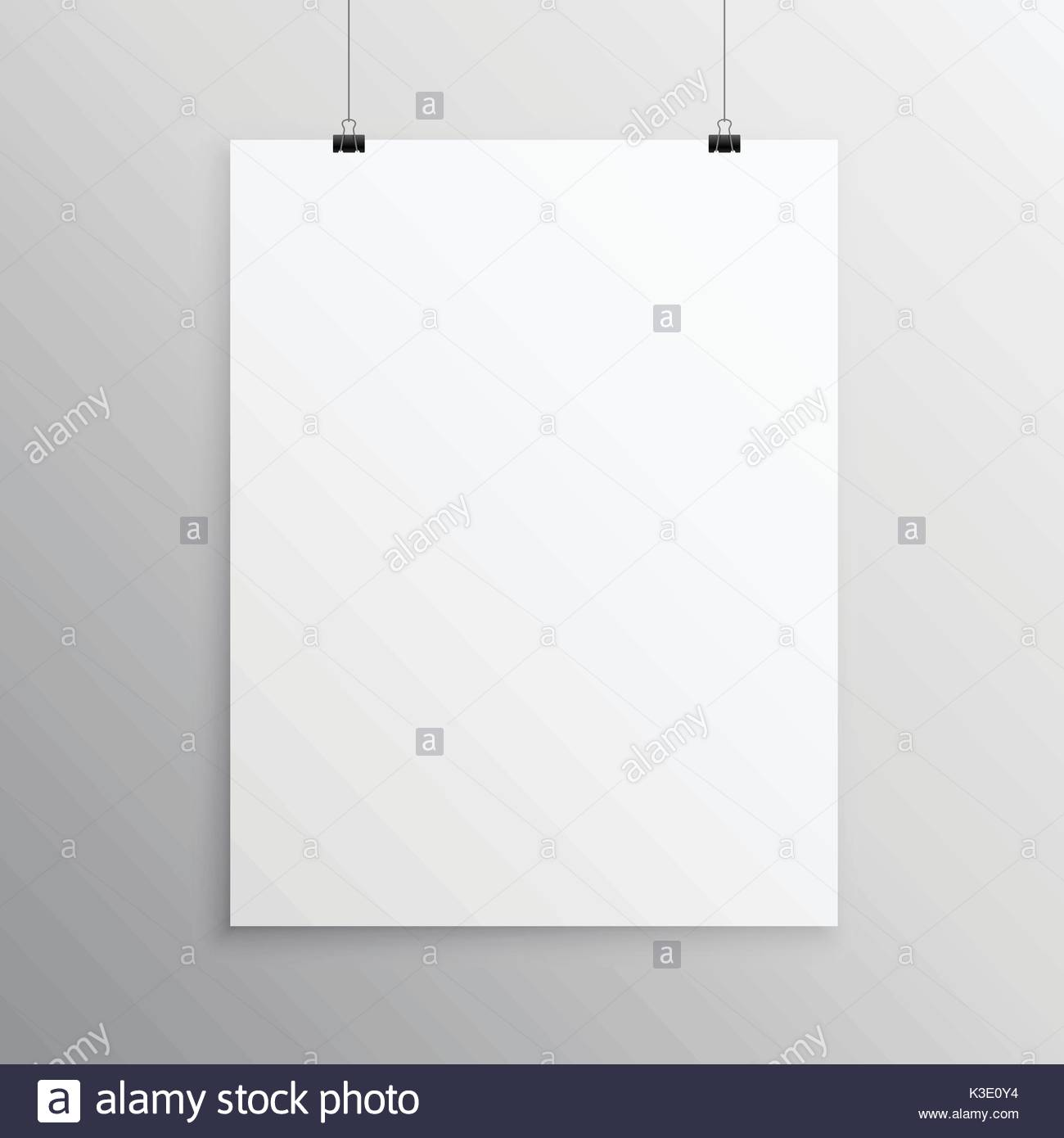 Blank Flyer Mockup Template Hanging With Clip Stock Vector Art