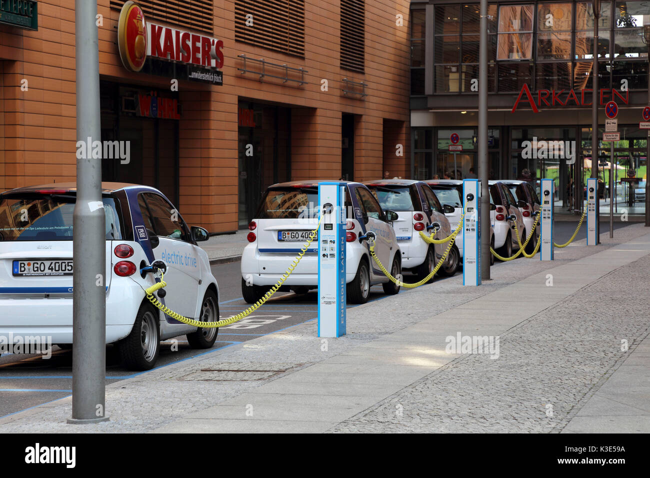 Germany, the Mitte district of Berlin, electric car, loading station - Stock Image