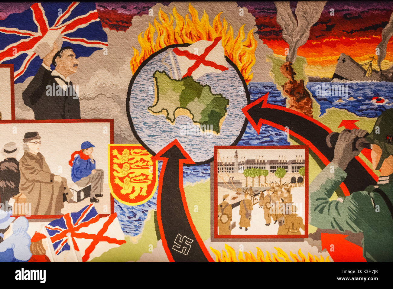 United Kingdom, Channel Islands, Jersey, St.Helier, Maritime Museum, The Occupation Tapestry Gallery, Tapestry depicting - Stock Image