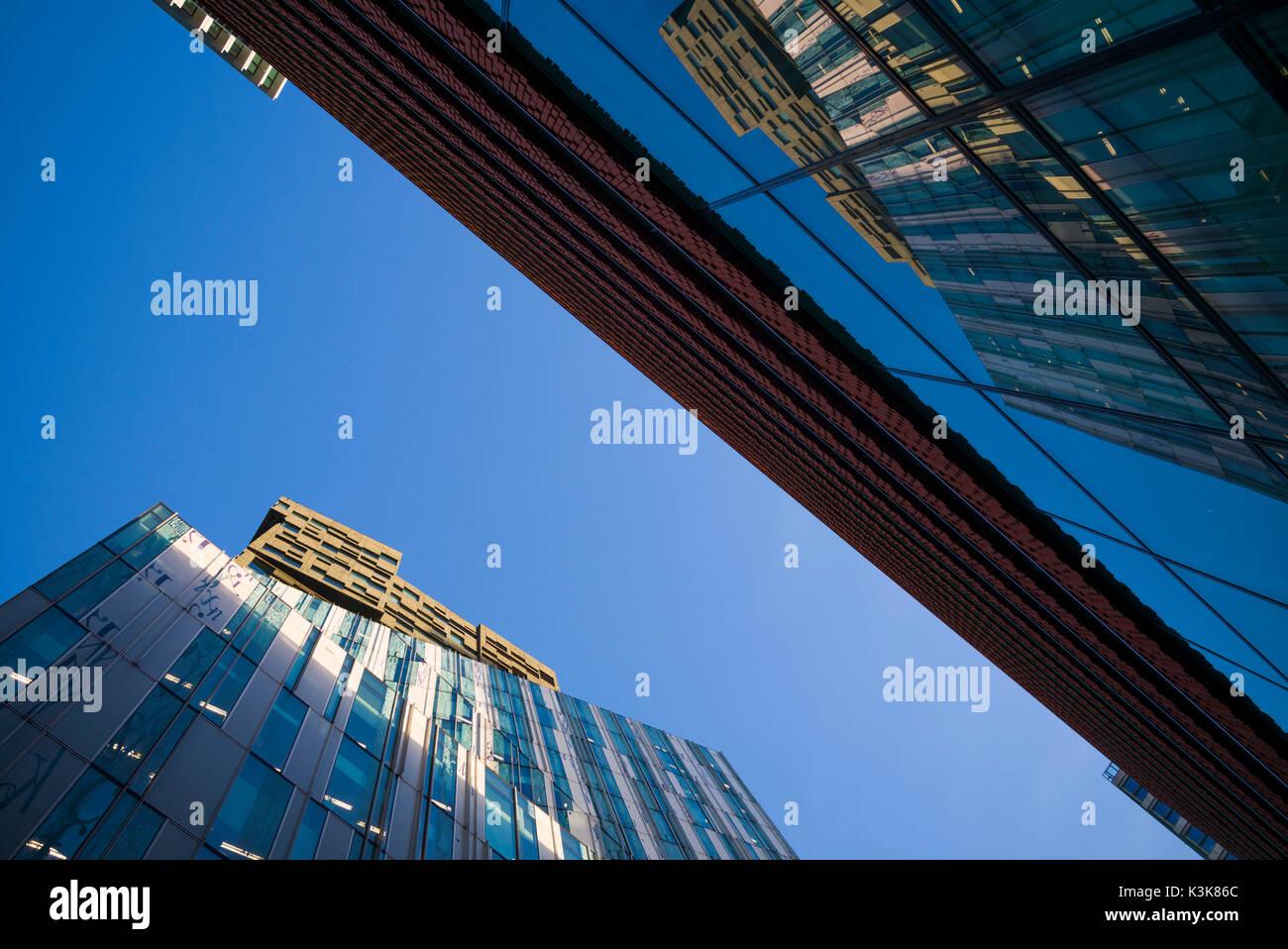 Netherlands, Amsterdam, Amstelveen area, office towers, dawn - Stock Image