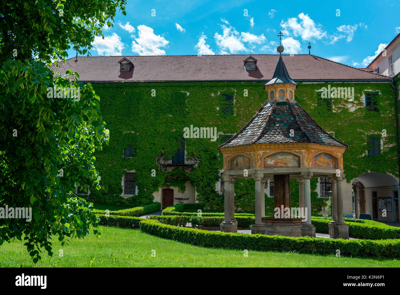 Novacella/Neustift, South Tyrol, Italy. The Fountain of Miracles in  Monastery Novacella/Neustift shows images of - Stock Image