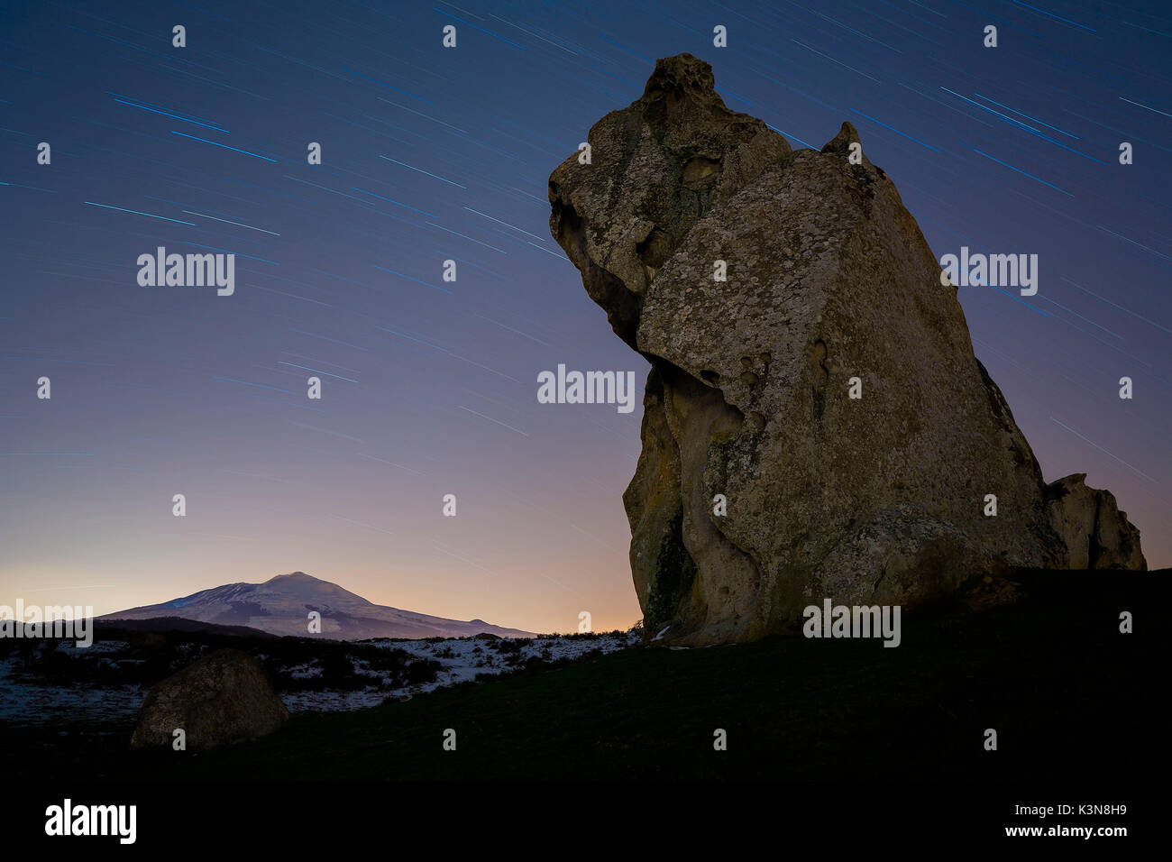 Megaliths of the Malabotta forest and Etna, Sicily, Italy, Europe - Stock Image