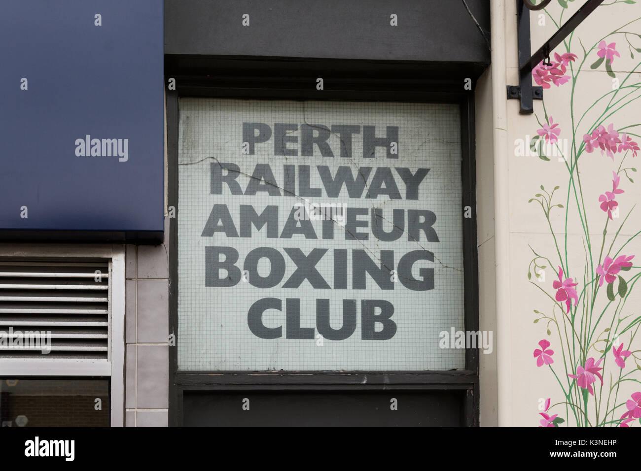 Perth Railway Amateur Boxing Club sign, South Methven Street, Perth, Scotland, UK - Stock Image