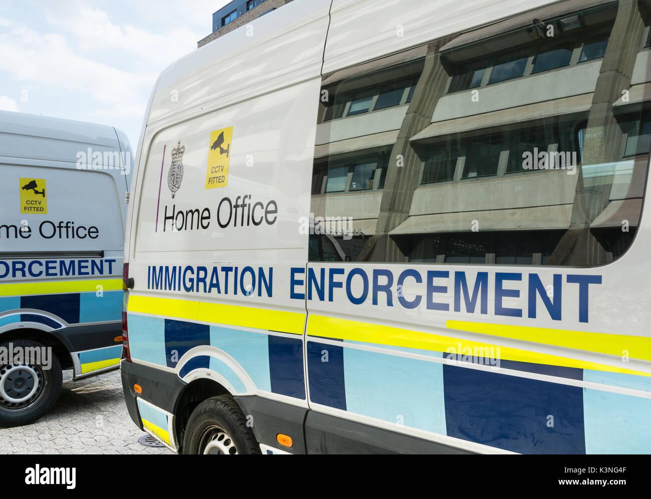 Home Office Immigration enforcement vans in Southwark, London, SE1, UK Stock Photo