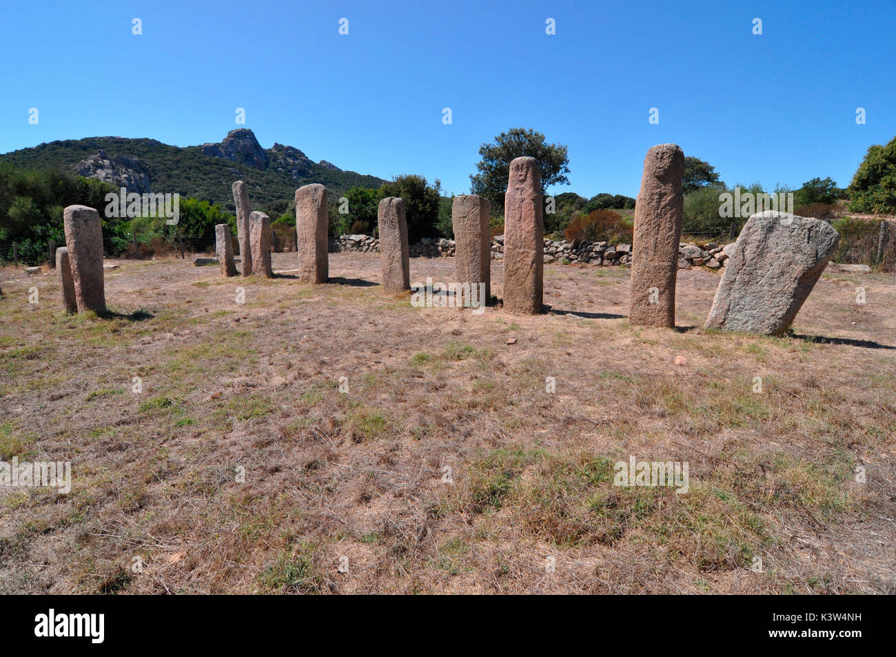 Near of the town of Sartene is a famous plateau where you can see a wonderful concentration of megalithic works, - Stock Image