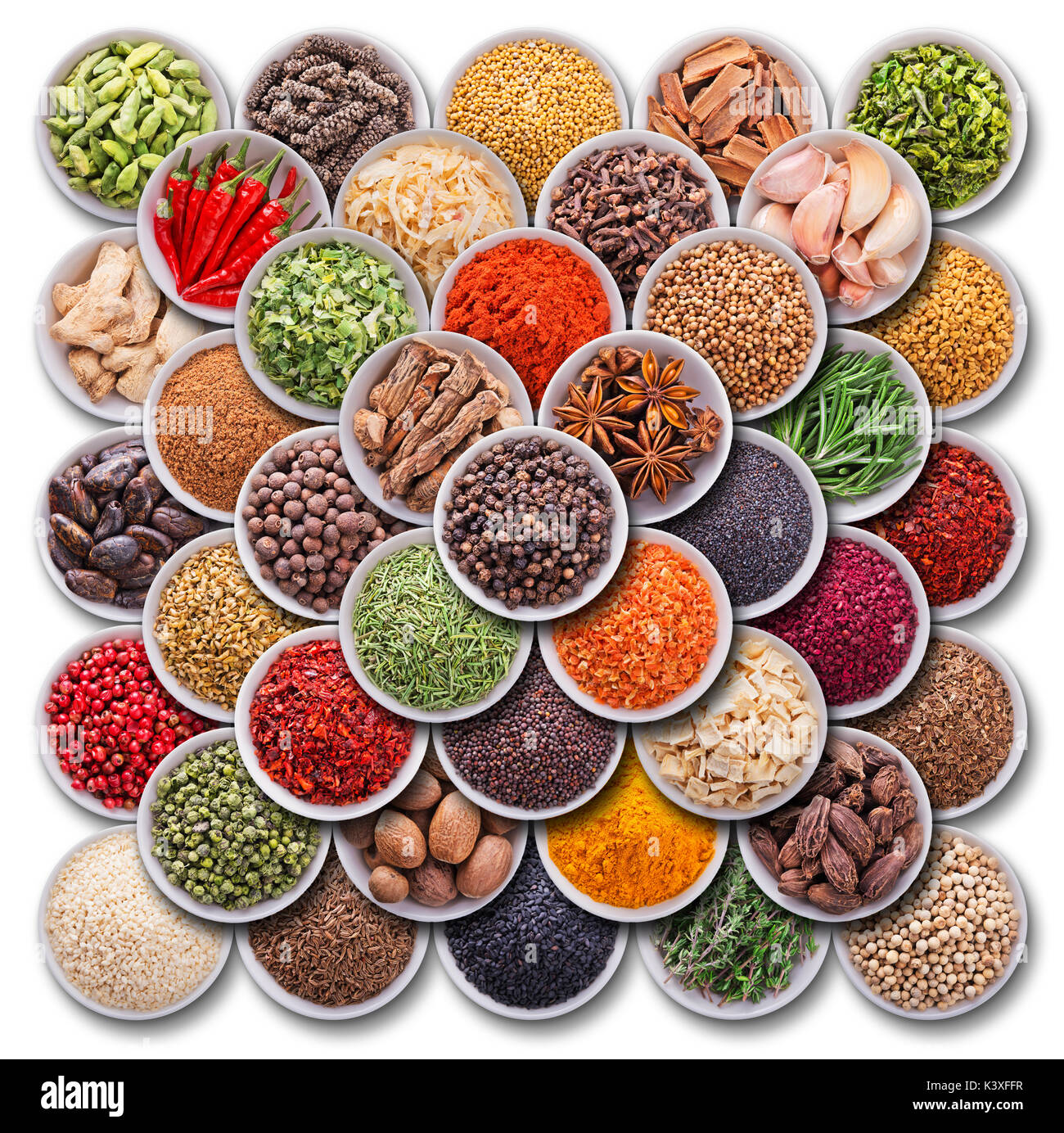 Bright colorful composition with spices and herbs - Stock Image