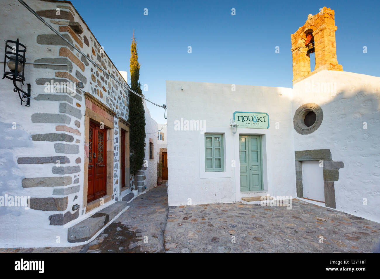 White architecture of Chora village on Patmos island in Greece. - Stock Image