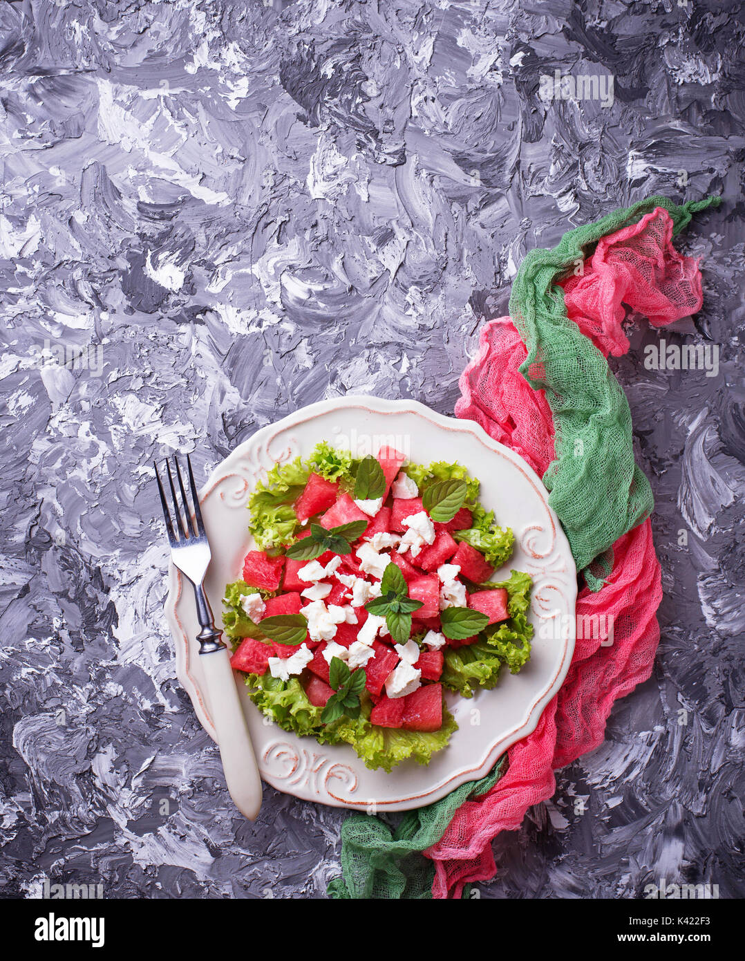 Salad with watermelon and feta cheese - Stock Image