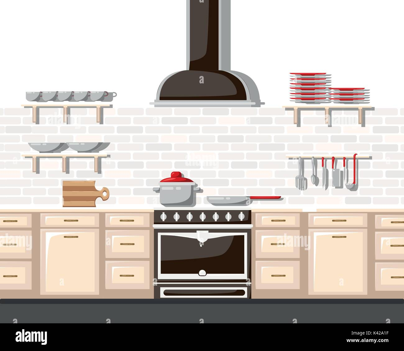 Kitchen With Furniture Flat Style Vector Illustration Cartoon Style