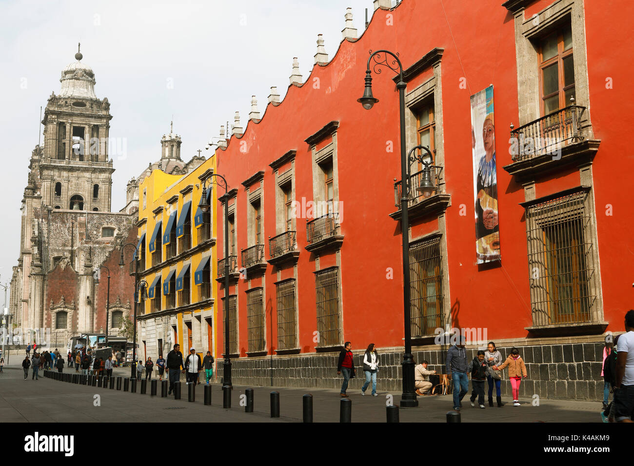 National University, on the left the Cathedral, Mexico City, federal state of Mexico, Mexico - Stock Image
