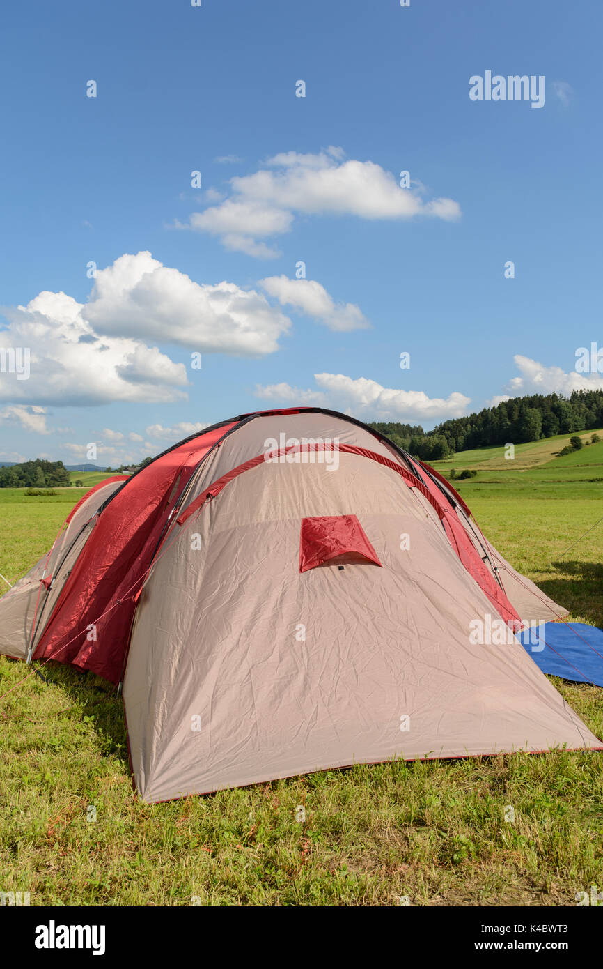 Tense Tent In Summer In A Relaxing Landscape - Stock Image