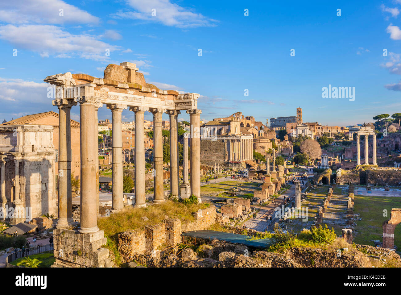 Rome Italy The columns of the Temple of Saturn and overview of the ruined Roman Forum, UNESCO World Heritage Site, - Stock Image