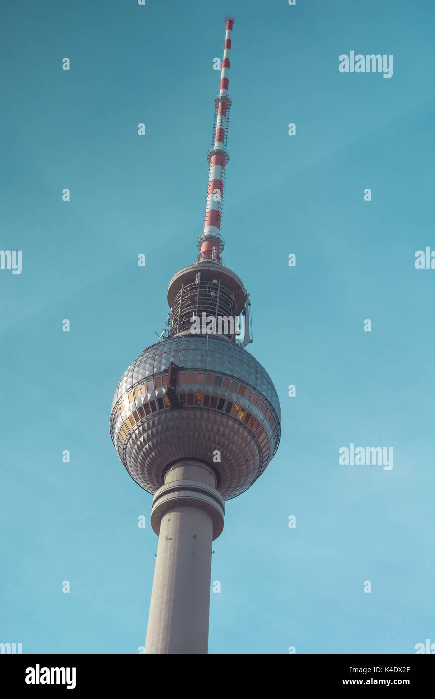 The famous TV Tower. Fersehturm in Berlin, Germany - Stock Image