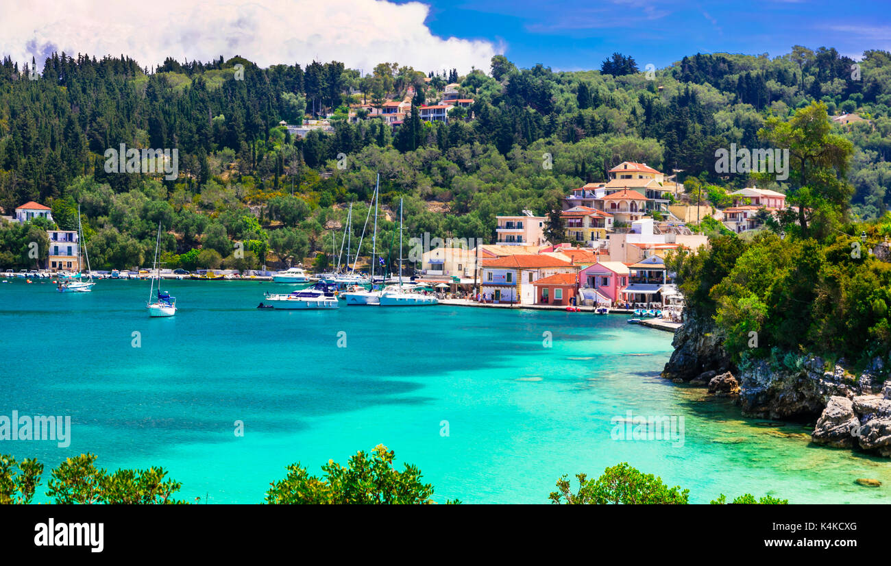 beautiful tranquil islands of Greece - Paxos (ionian islands). picturesque Lakka village and turquoise bay Stock Photo