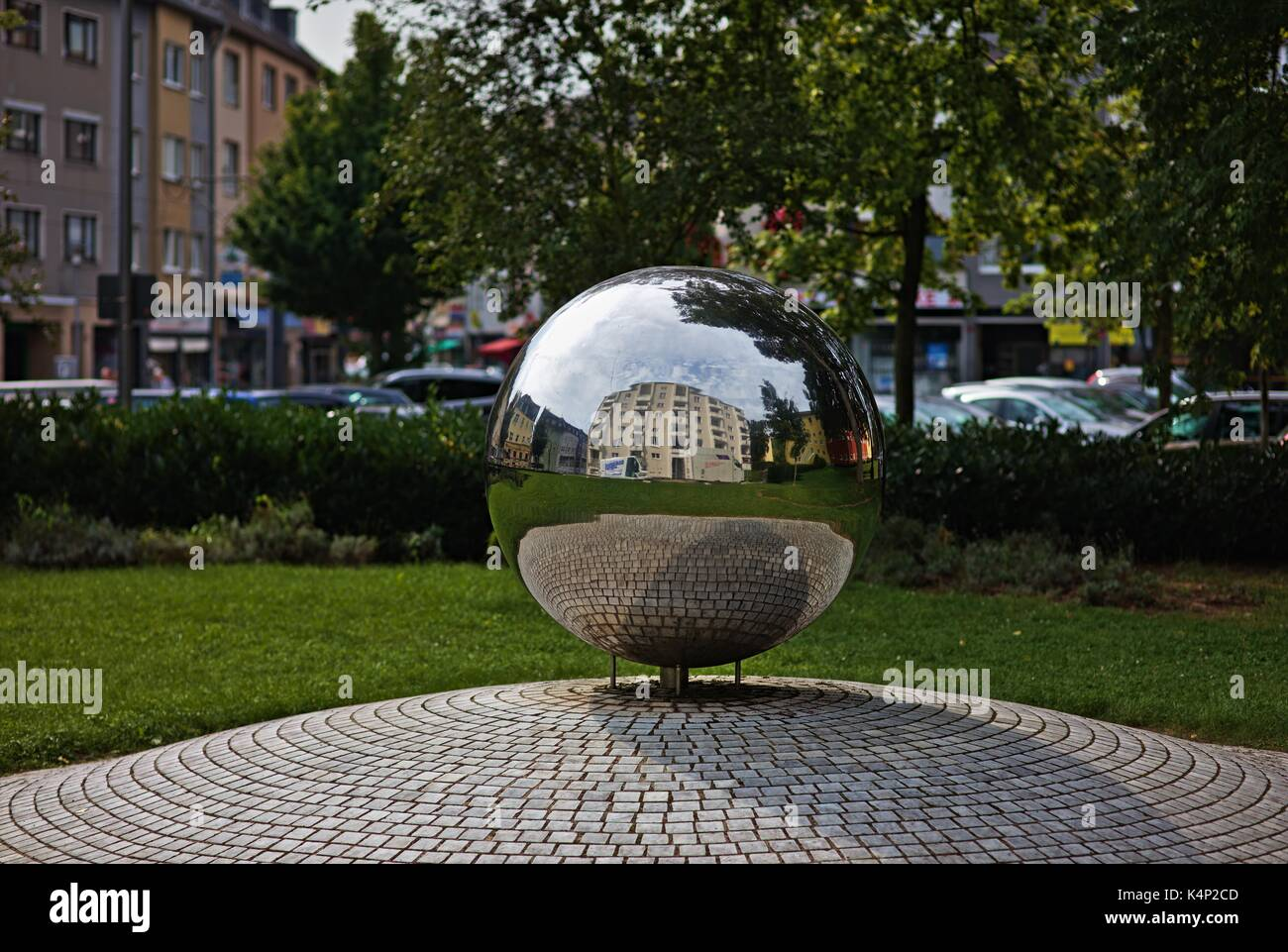 mirror-ball-on-place-in-cologne-reflecti