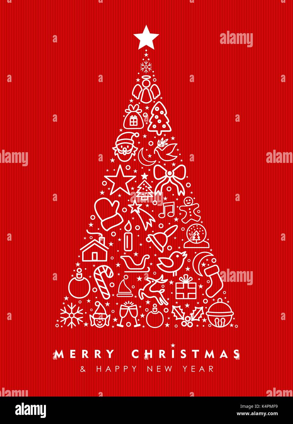 Merry Christmas And Happy New Year Greeting Card Design Red Holiday