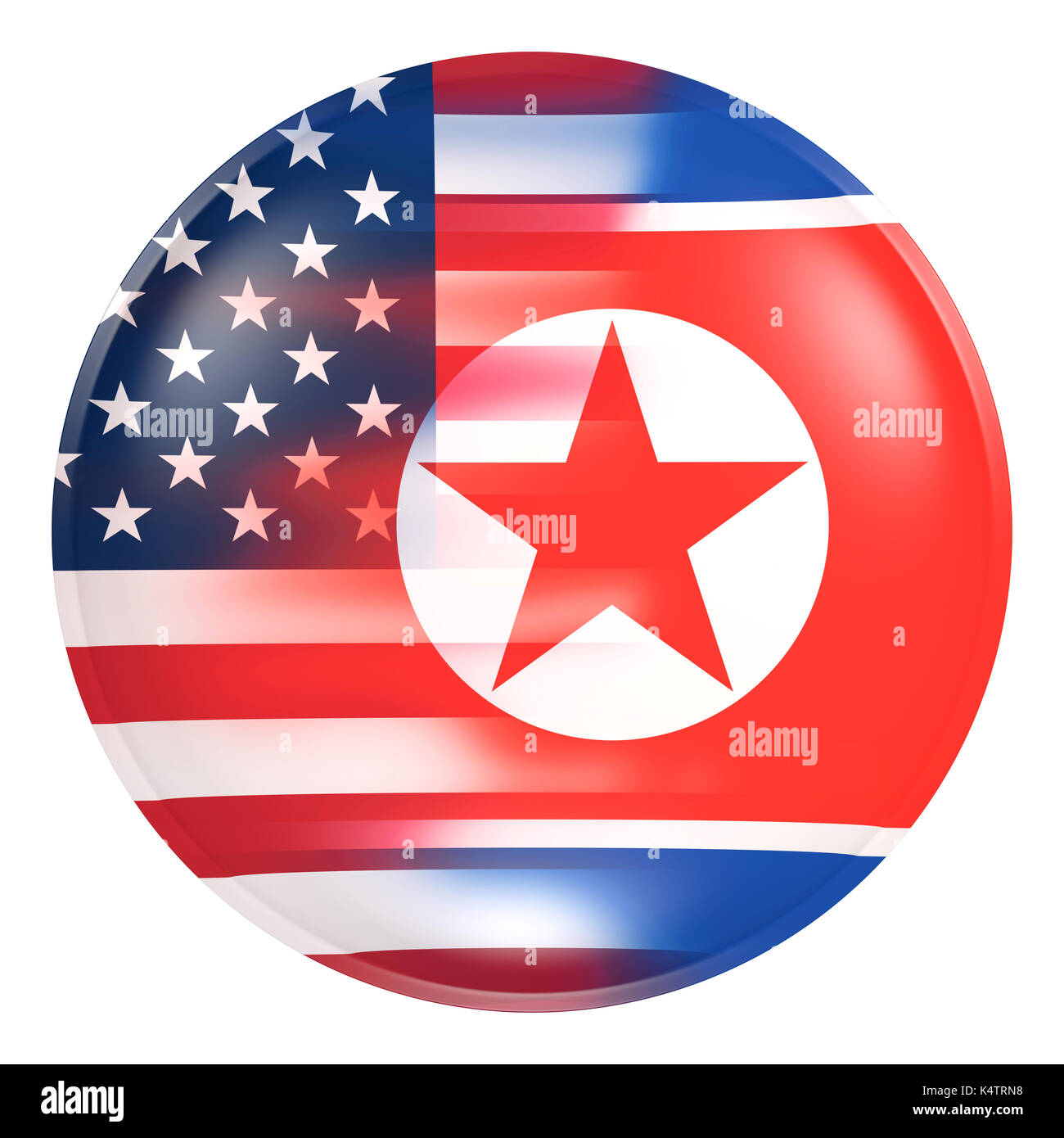 3d rendering of Korea and United States of America flags on a button in white background. Concept of nuclear conflict. - Stock Image
