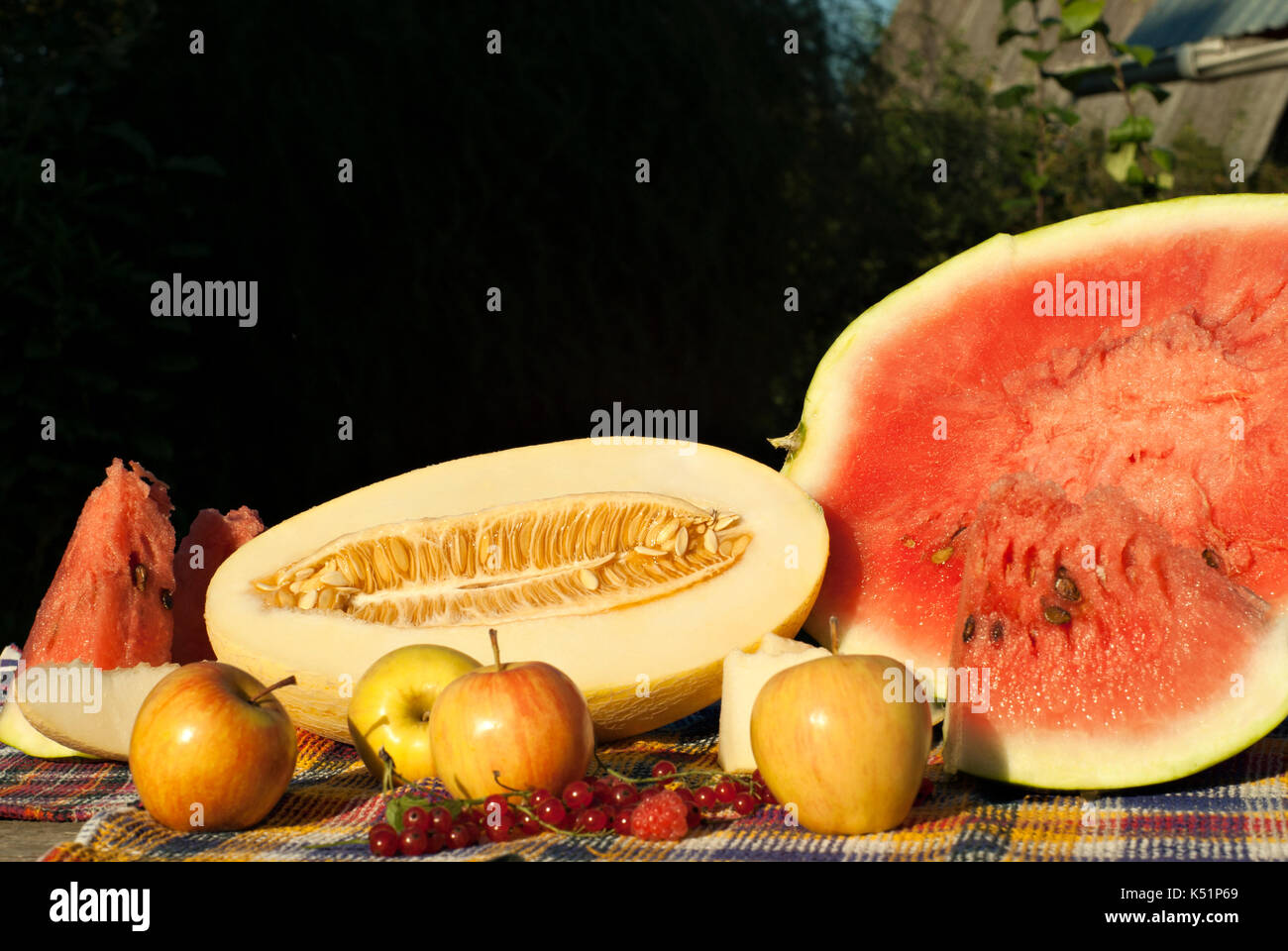 Still life with cuted melon and watermelon, apples, red currants and raspberries - Stock Image